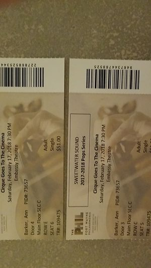 Tickets to Cirque goes to the cinema on February 17th at the Embassy Theatre. for Sale in Fort Wayne, IN