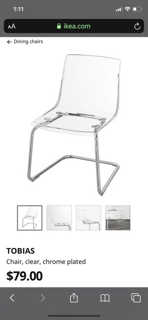 4 Clear chairs for Sale in Washington, DC