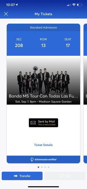 Tickets to BANDA MS (con todas las fuerzas tour) for Sale in Silver Spring, MD