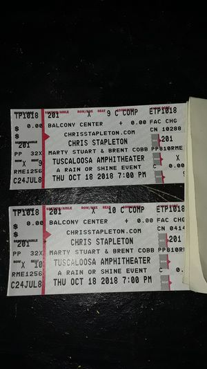 "(2) pair of concert tickets for ""CHRIS STAPLETON"" on Oct 18 at tuscaloosa for Sale in Mulga, AL"
