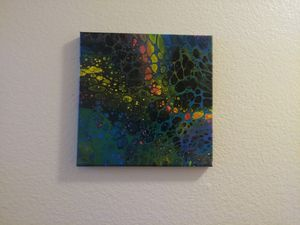 Abstract acrylic fluid art painting 10 x 10 for Sale in Riverside, CA