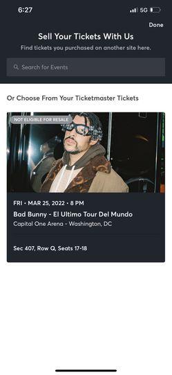 Bad Bunny Tickets  for Sale in Arlington, VA