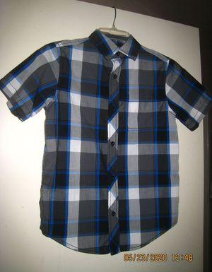 Boys Tony Hawk Button-Up Blue/Black/Grey Plaid Short-Sleeved Shirt Size Medium for Sale in Folsom, CA