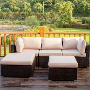 5PCS Rattan Patio Conversation Set Home Outdoor Furniture for Sale in Henderson, NV