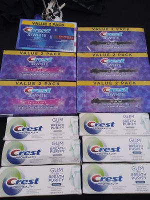 Crest 3D white charcoal,glamorous white,radiant mint & Crest Pro Health gum and breathe purify deep clean or healthy white for Sale in Buena Park, CA