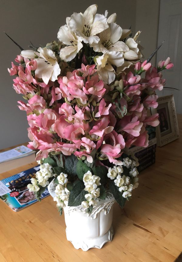 Faux Pink and White Flower Pot