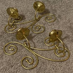 Vintage Set Of 2 Gold Color Metal Candle Holder Wall Hanging Home Decoration Accent for Sale in Chapel Hill, NC
