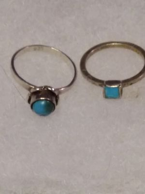 2 Sterling silver Turquoise rings size 7 and 7+3/4 for Sale in Willow Street, PA