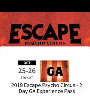Escape wonderland 2 Day GA pass for Sale in Fontana, CA