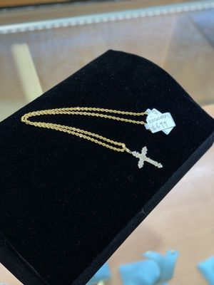 Rope chain and Cross CZ's 10 KT for Sale in San Diego, CA
