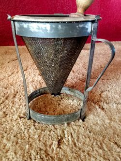 Vintage Metal Strainer on Stand with Wood Pestel for Sale in Dinuba,  CA