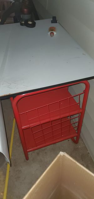 Red metal desk with rolling chair for Sale in Warner Robins, GA