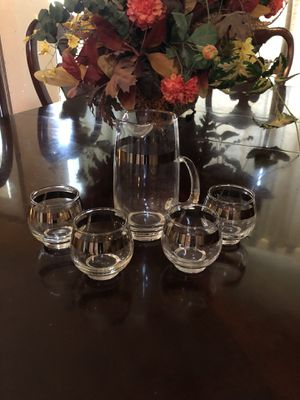 Beautiful antique vintage silver LIBBY SET. Pitcher land 4 glasses. This is not a full size pitcher. Measurements are pitcher 4x7 glasses 3x3. 18.00. for Sale in Austin, TX