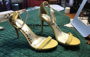 Womens SZ 7 1/2 W Yellow Stiletto Sandals for Sale in Rossville, GA