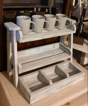 """16""""H X 22""""W X 7""""D 🍁2 Tier Wood Shelf with Tray ::: Rustic Distressed Still Gray/White for Sale in Las Vegas, NV"""