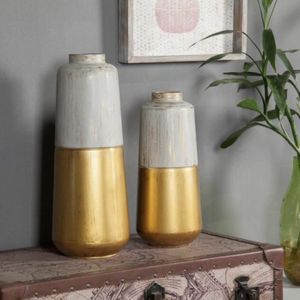 Brand New Gold and Multi-color Metal Decorative Flower Vase (Set of 2) for Sale in Walnut, CA