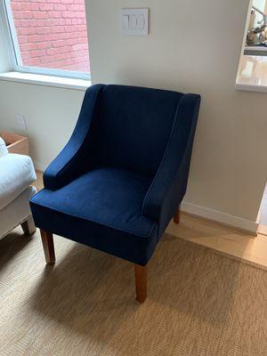 Dark Blue Velvet Accent Chair for Sale in Washington, DC