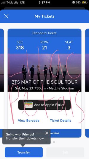 BTS MetLife Day 1 Tickets for Sale in Lowell, MA