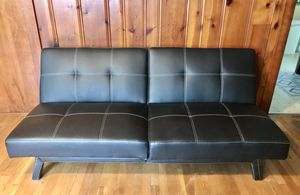 MOVING! MUST GO. Buy One Get One Free Black Faux Leather Futon Sleepers for Sale in Bellport, NY