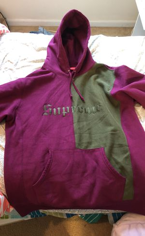 Supreme Purple and green Renaissance styled pull over hoodie. Embroidered logo on front. Barely worn. for Sale in Raleigh, NC