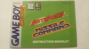 GAME BOY ARCADE ASTEROIDS AND MISSILE COMMAND INSTRUCTIONS ONLY for Sale in Las Vegas, NV