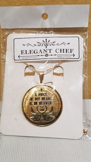 @CHV ELEGANT CHEF IN MEMORY OF SON CHARM PENDANT AND CHAIN JEWELRY STAINLESS STEEL GOLD PLATED #53 for Sale in Santa Clarita, CA