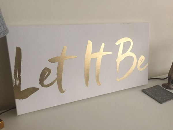"Gold Foil Art Canvas with ""Let it Be"" Inspirational Quote"