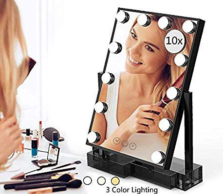 Makeup Vanity Mirror with Lights,Hollywood Light-up Professional Mirror with Storage,3 Color Lighting Modes,10x
