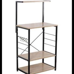 Wooden Kitchen Shelf, Baker's Rack 4 Tier Shelves Black Brown for Sale in Torrance, CA