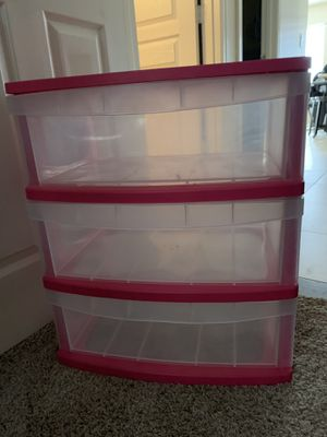 Pink 3-Drawer Plastic Container for Sale in Sun City, AZ