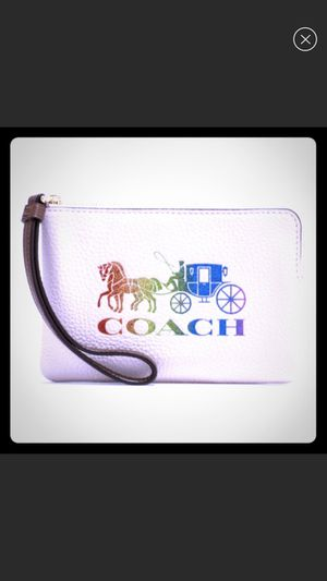 Beautiful Coach White-Rainbow Corner Zip Wristlet for Sale in Katy, TX