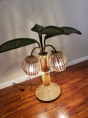 Vintage bamboo rattan Palm tree coconut lamp tiki light Has 4 of 6 leafs. Works great for Sale in Irvine, CA