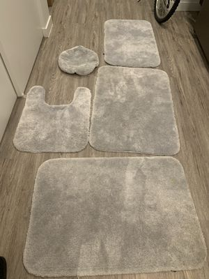 Silver Bath room mat and curtain set for Sale in Redmond, WA