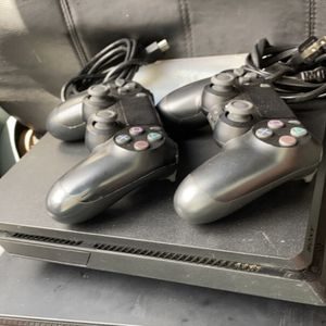 PS4 slim w/2 controllers and a game for Sale in Amarillo, TX