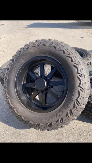 "Like New 20x10 Black Steel rims and 37x12.50r20Lt Tires ! 8x170 Bolt pattern 20"" will fit Ford F250 and F350 super duty ! Rines y llantas 2017 F 250 for Sale in Dallas, TX"