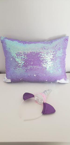 Justice sequin pillow and unicorn headband for Sale in Mableton, GA