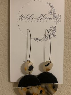 Dangly black and gold clay earrings Handmade for Sale in Cedar Park,  TX