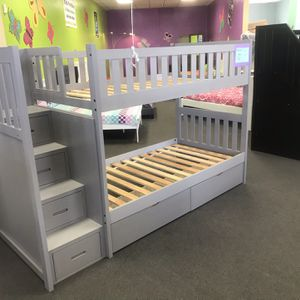 Stairway twin over twin bunk bed for Sale in Glendale, AZ