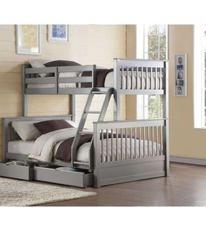Twin/Full Bunk Bed w/2 Drawers - 37755 - Gray 69R for Sale in Ontario, CA