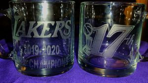 LAKERS custom etched glass mugs with champ logo for Sale in Los Angeles, CA