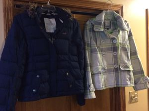 Holister Jacket with hoodie Large $40 and Pea Coat size M adult $30 for Sale in Beaver Falls, PA