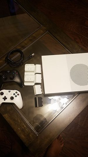 Xbox One S with 2 Controllers, and Twin Dual Charging Dock and Stereo Headset Adapter for Sale in Norcross, GA