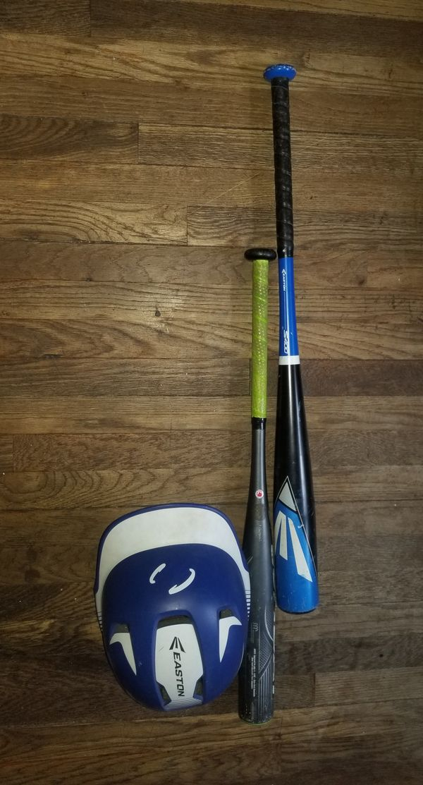 EASTON baseball bats and helmet