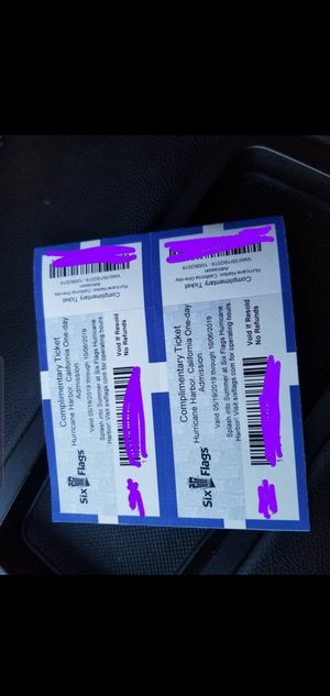 2 Six flags Hurricane harbor tickets for Sale in Fontana, CA