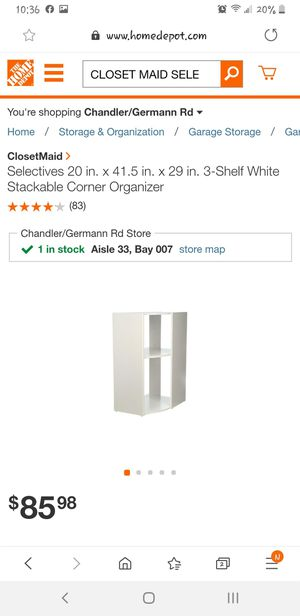 CLOSET MAID SELECTIVES, 3-SHELD STACKABLE CORNER ORGANIZER, WHITE for Sale in Chandler, AZ