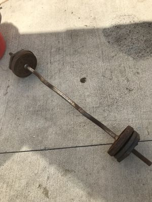 Curl bar with weights for Sale in Los Angeles, CA