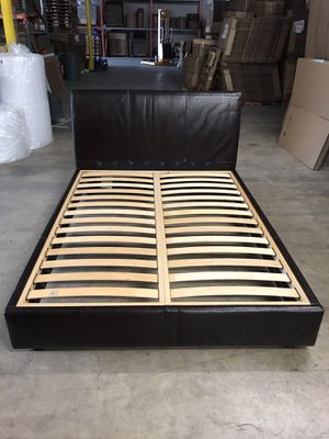 Leather Upholstered Queen Bed Frame for Sale in Buda, TX