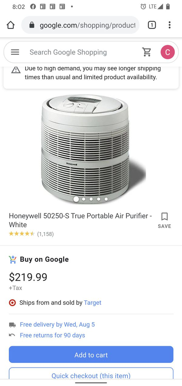 Honeywell 50250-S True Portable Air Purifier - White