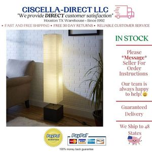 White Rice Paper Floor Lamp with Dark Wood Base Bedroom Living Room for Sale in Houston, TX