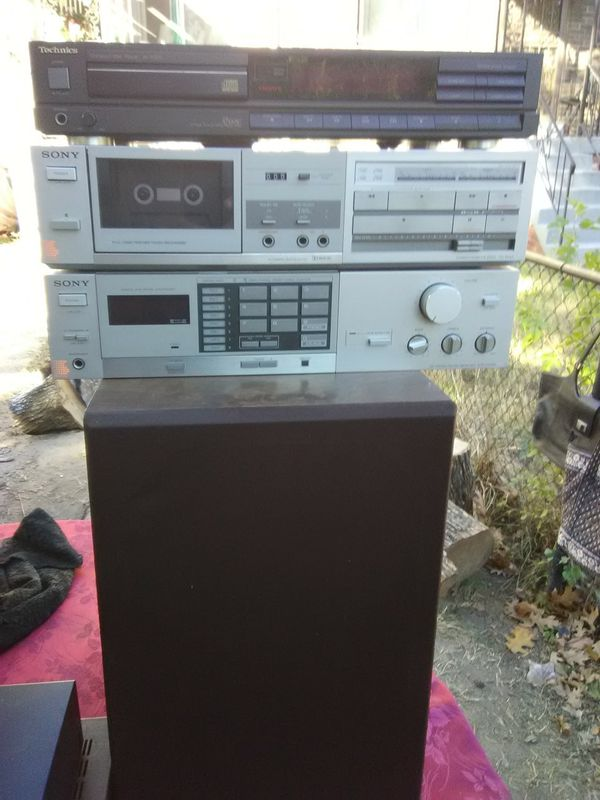 Sony receiver with cassette player and Technics CD player plus speakers $200